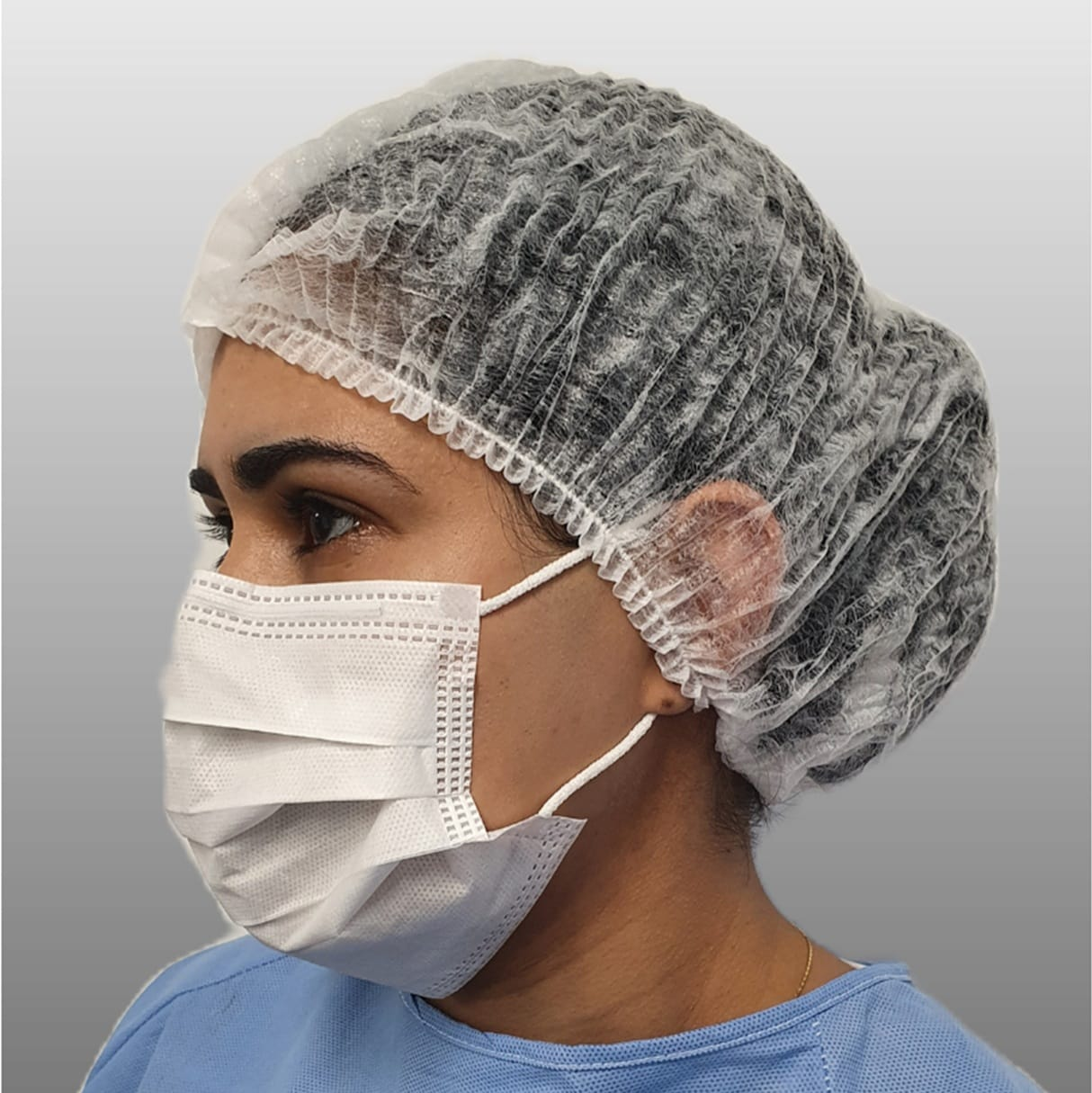 Máscara cirúrgica em pp com elástico três dobras