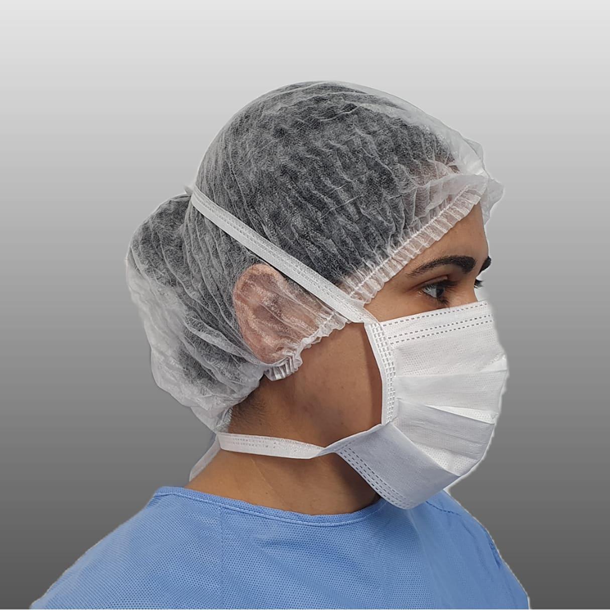 Máscara cirúrgica tripla com elástico